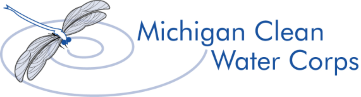 Michigan Clean Water Corps program name and logo, a dragonfly over swirling water